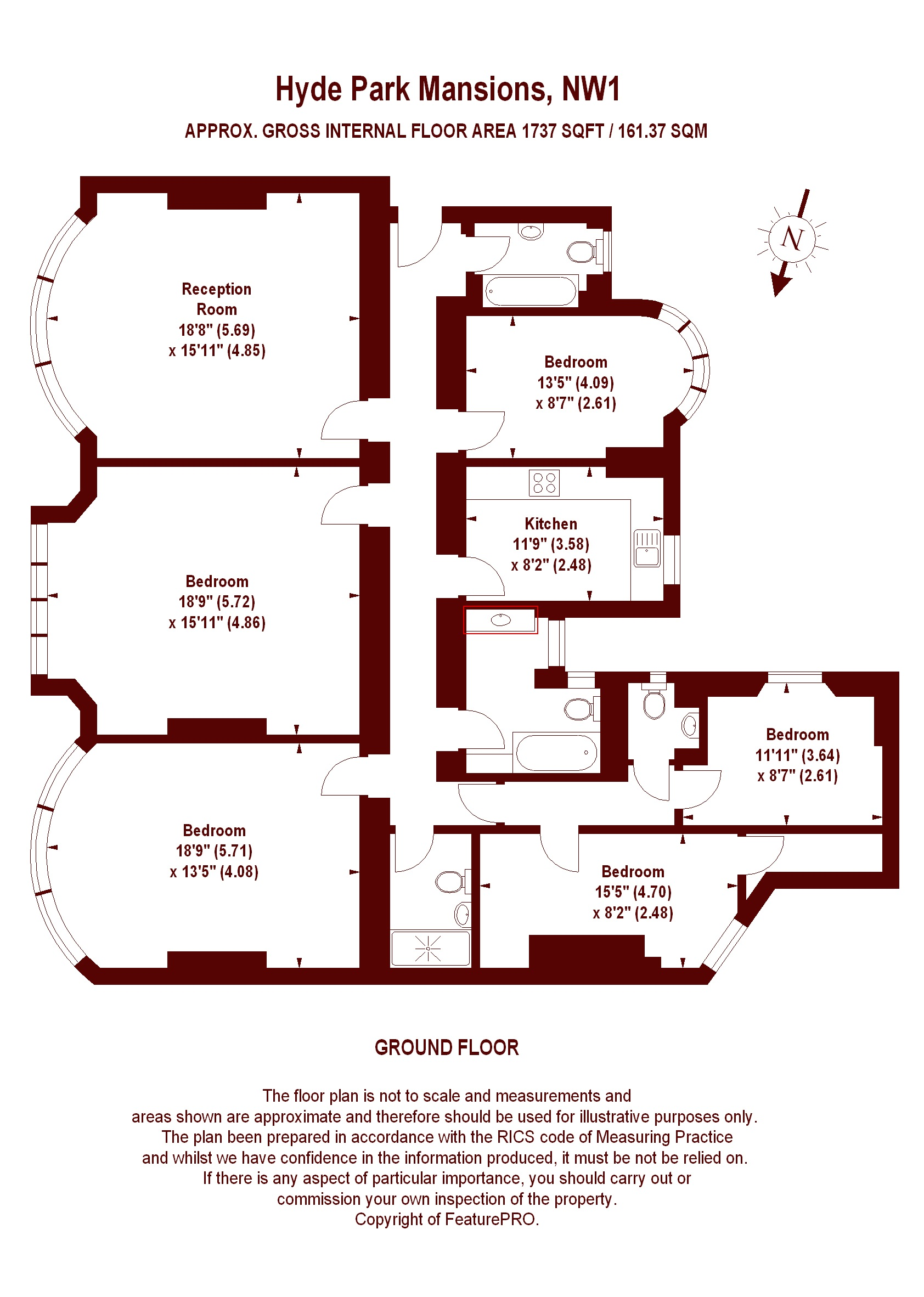 Hyde park mansions nw1 5es apartment for sale for Hyde homes floor plans